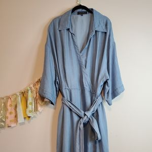 Plus size chambray a line dress